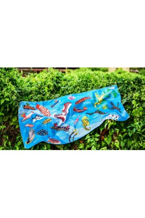 Nudibranch pattern towel Big Light blue