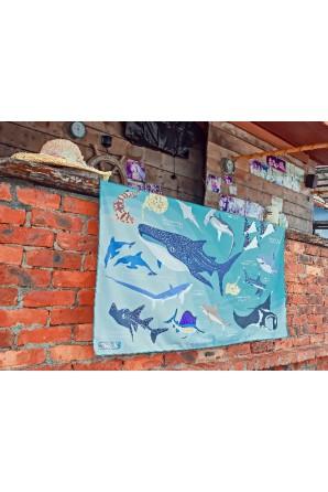 Haifische und Strahlen mustern Handtuch Groß Hellblau