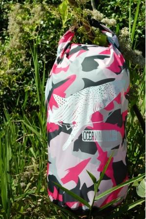 Camuflagem rosa Tubarão Baleia Saco Impermeável 15l