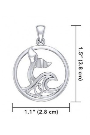 Whale Tail Pendant with Celtic Wave