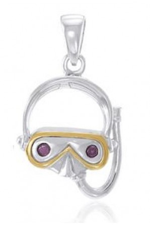Diving Mask Pendant with Gold