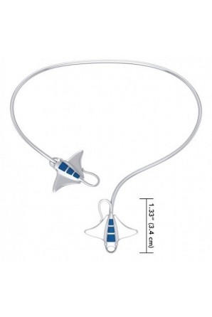 A worthwhile quest Silver with inlaid Manta Ray Wire Necklace