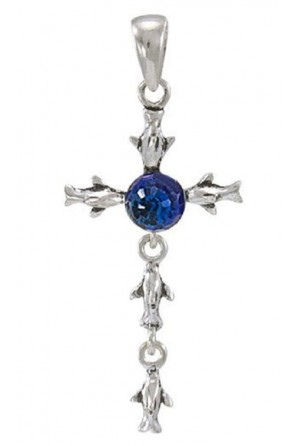 Dolphin Cross Pendant with...