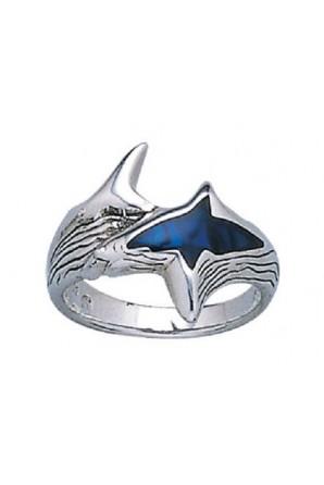 Anello squalo smaltato blu