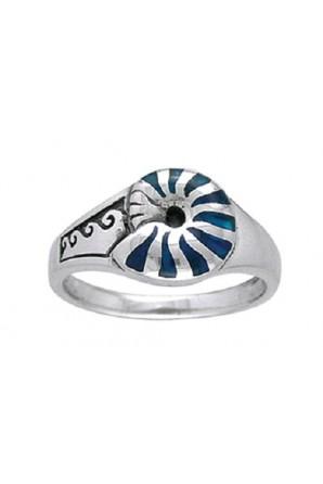 Inlaid Nautilus Shell Ring