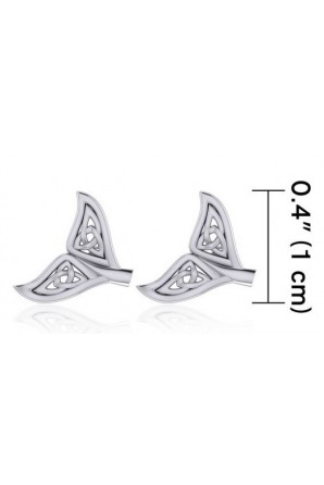 Celtic Whale Tail Silver Post Earrings