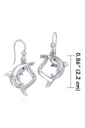 Long Fox Shark Earrings with Precious Stones