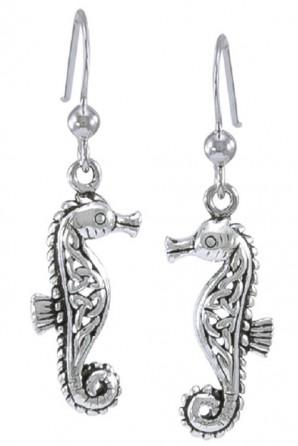 Celtic Seahorse Hook Earring