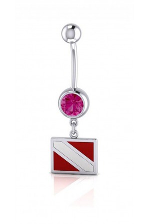 Dive Flag Sterling Silver Body Jewelry