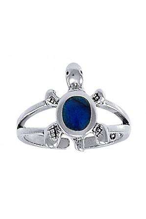 Blue turtle toe ring