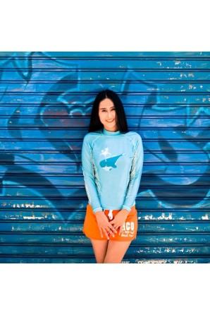 Camiseta de baño mujer azul...