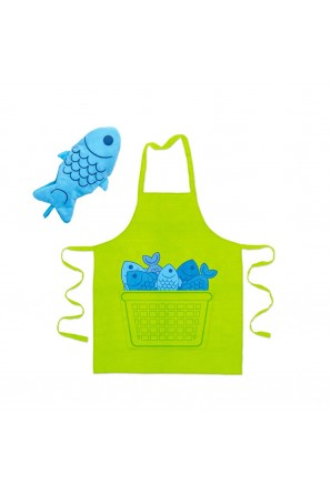 Blue Fin apron and mitten