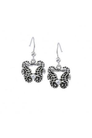 Two seahorse hook earrings...