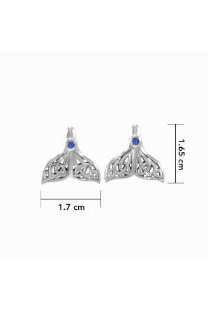 Celtic Whale Tail Silver Post Earrings with stone