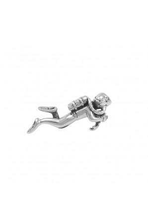 Alfinete de prata esterlina com formas marinhas